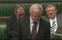 David Davis raises a point of order in the House of Commons